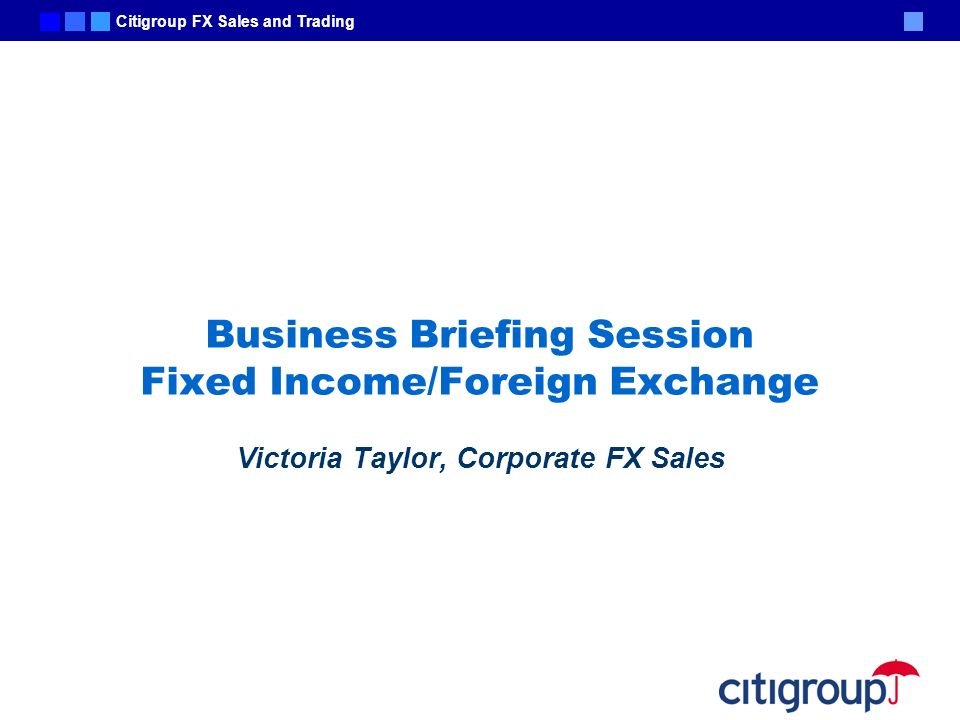 Business Briefing Session Fixed Income/Foreign Exchange