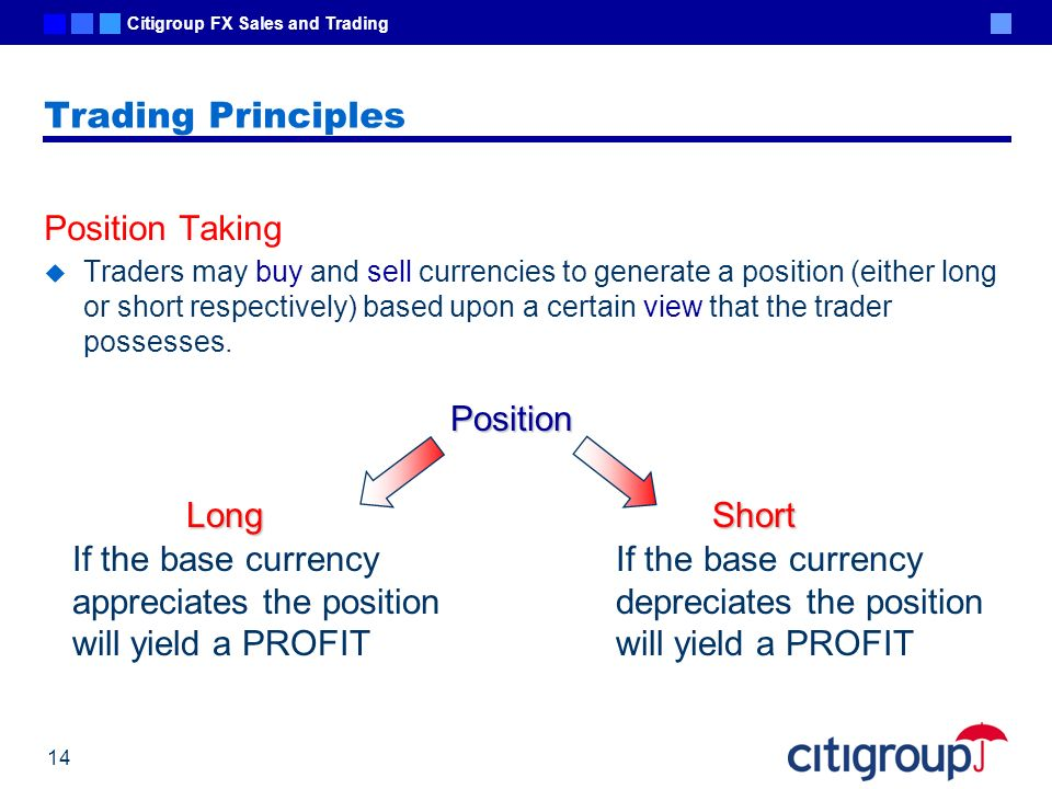Trading Principles Position Taking Position Long Short