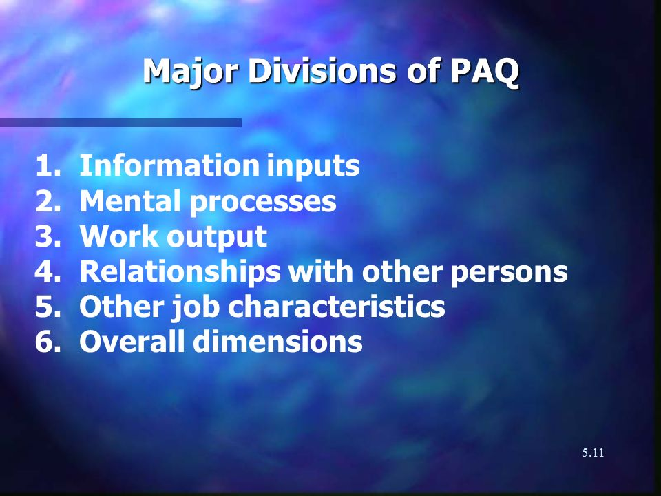 Major Divisions of PAQ 1. Information inputs 2. Mental processes