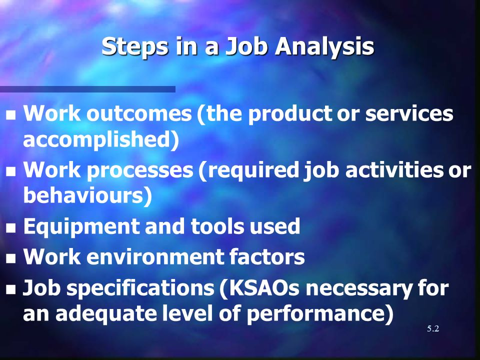 Steps in a Job Analysis Work outcomes (the product or services accomplished) Work processes (required job activities or behaviours)