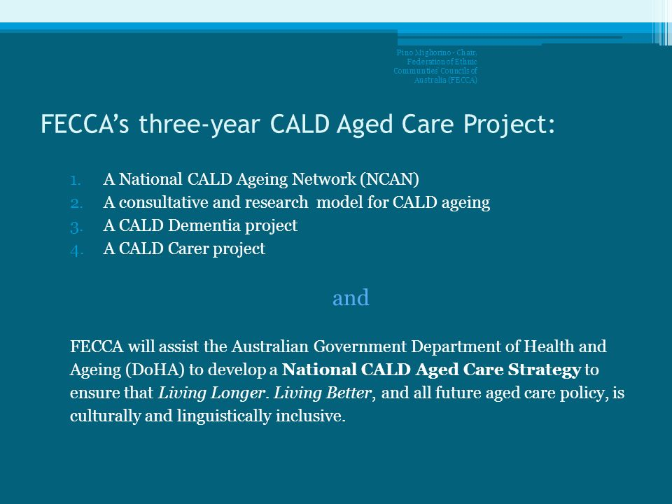 FECCA's three-year CALD Aged Care Project: