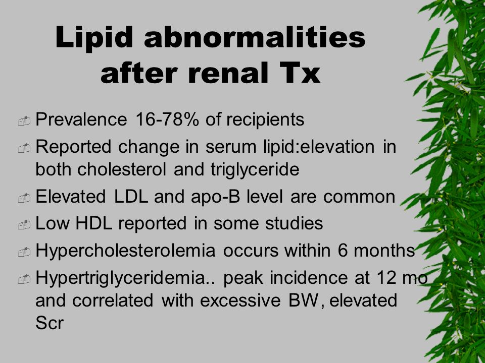 Lipid abnormalities after renal Tx