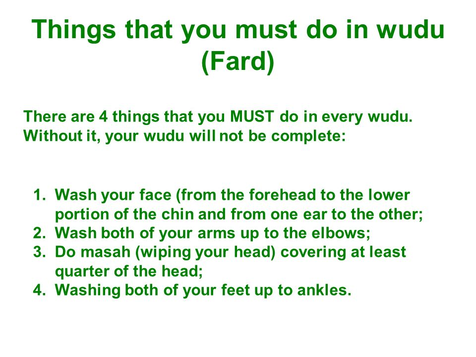 Things that you must do in wudu (Fard)