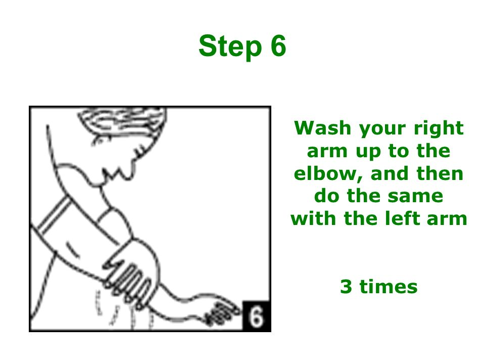 Step 6 Wash your right arm up to the elbow, and then do the same with the left arm 3 times