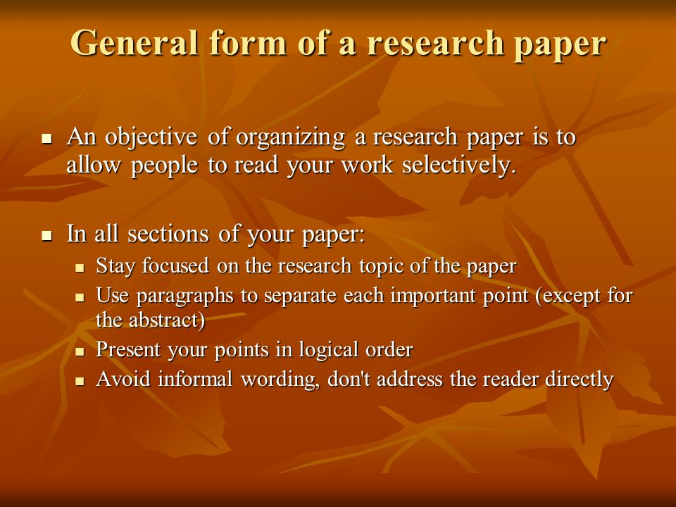 General form of a research paper