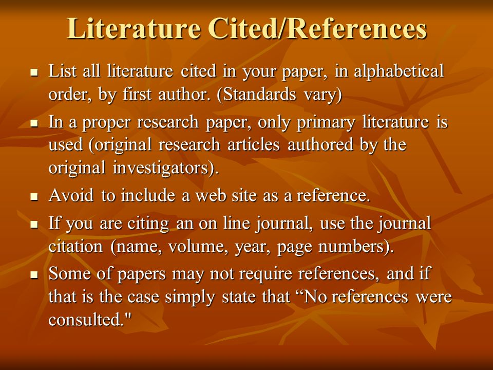 Literature Cited/References