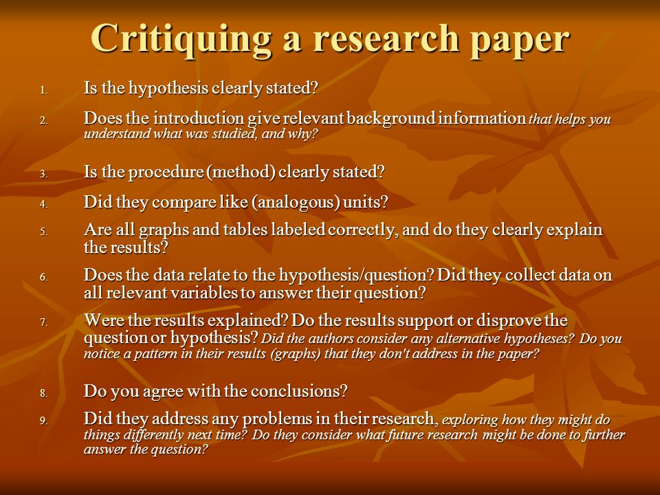 Critiquing a research paper