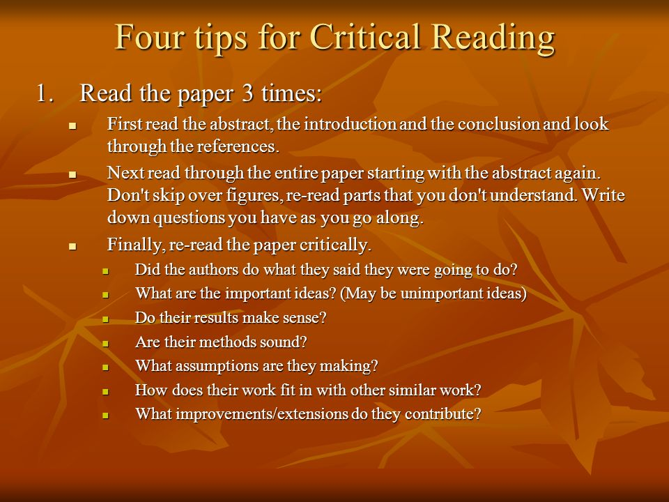 Four tips for Critical Reading