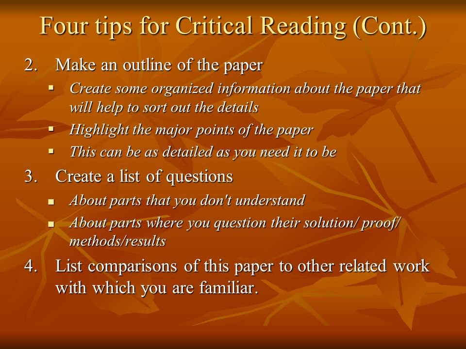 Four tips for Critical Reading (Cont.)