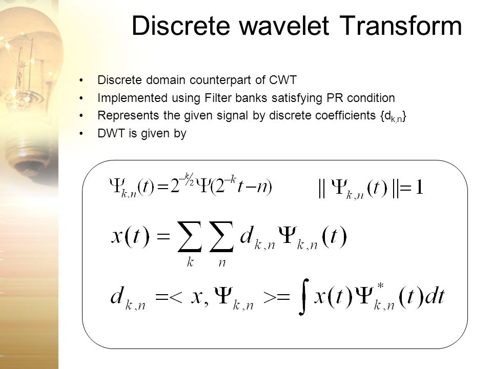Wavelet Transform A Presentation - ppt video online download