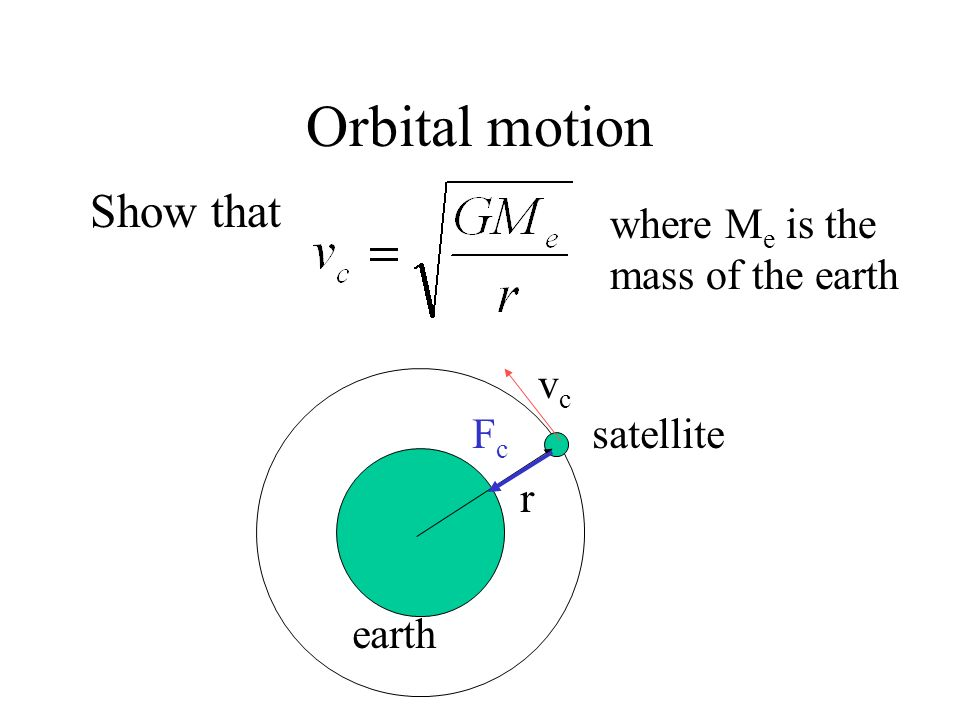 Orbital motion Show that where Me is the mass of the earth r satellite