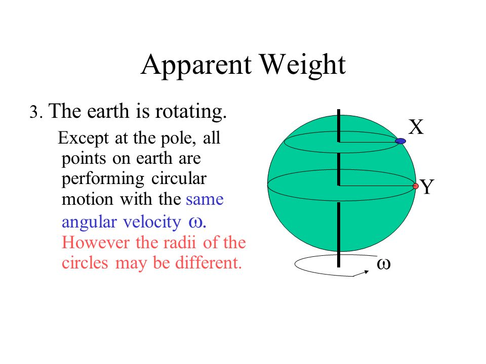 Apparent Weight X Y  3. The earth is rotating.