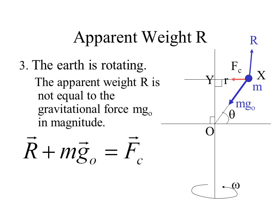 Apparent Weight R R 3. The earth is rotating.