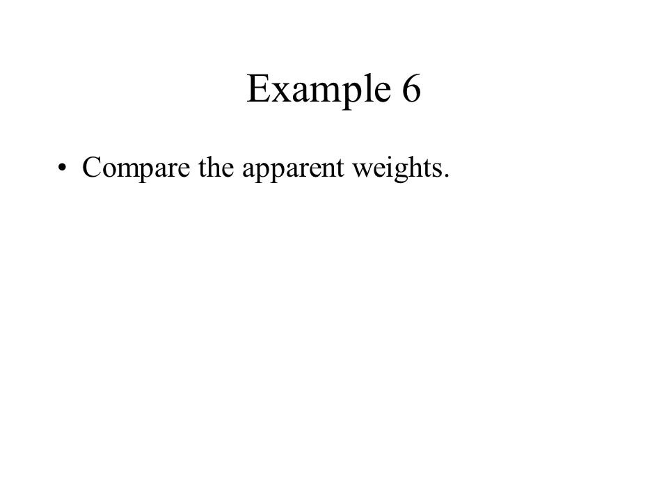 Example 6 Compare the apparent weights.