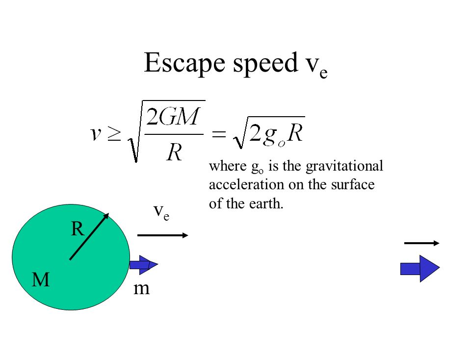 Escape speed ve where go is the gravitational acceleration on the surface of the earth. ve R m M