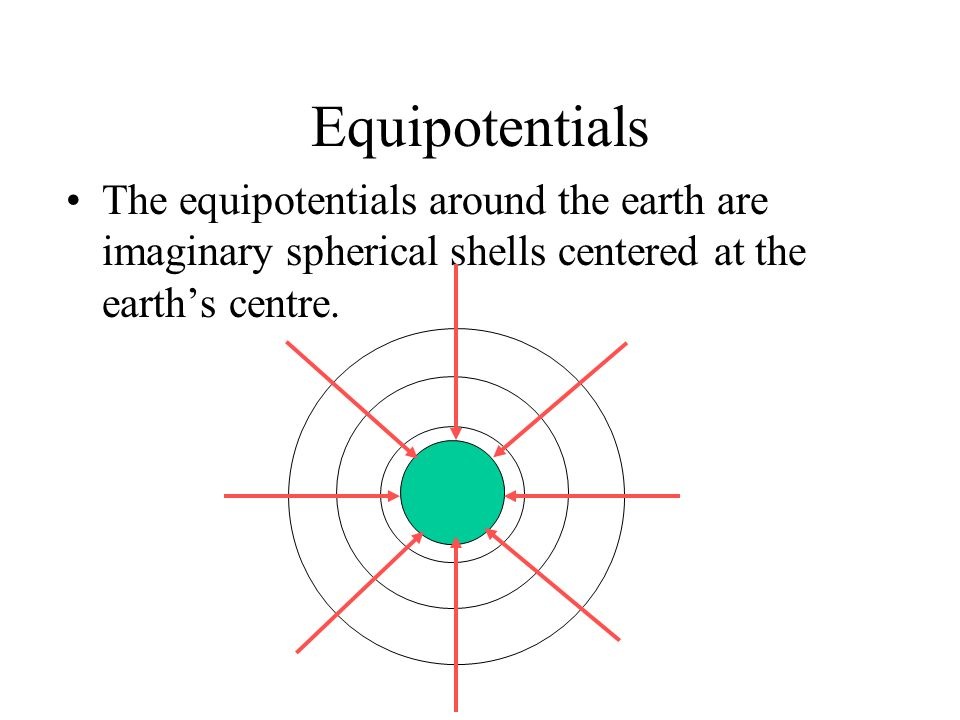 Equipotentials The equipotentials around the earth are imaginary spherical shells centered at the earth's centre.