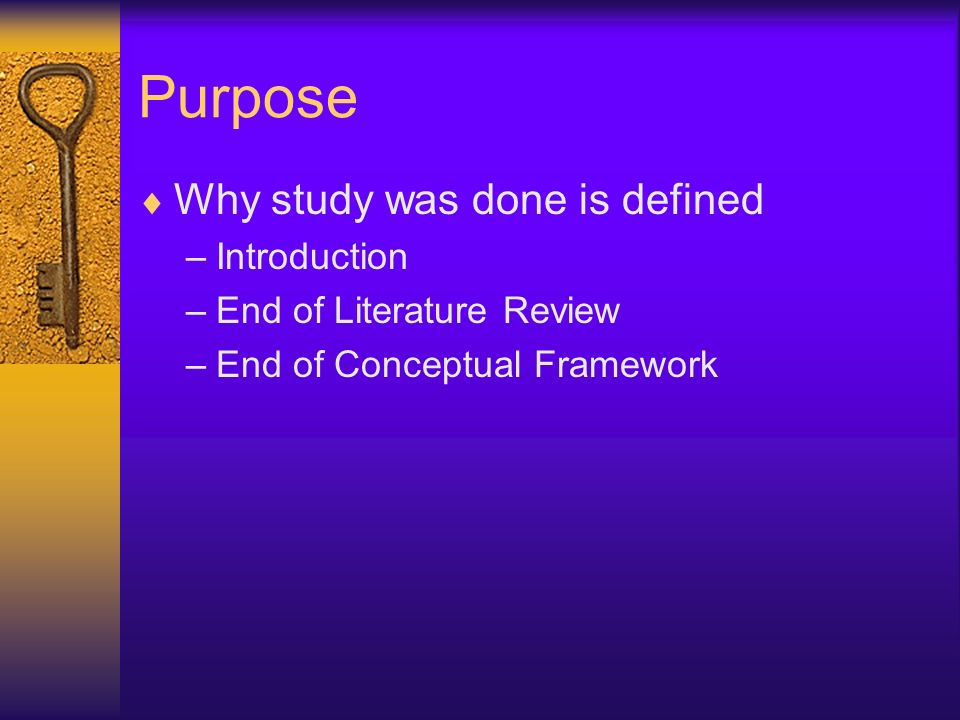 Purpose Why study was done is defined Introduction