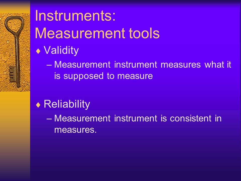 Instruments: Measurement tools