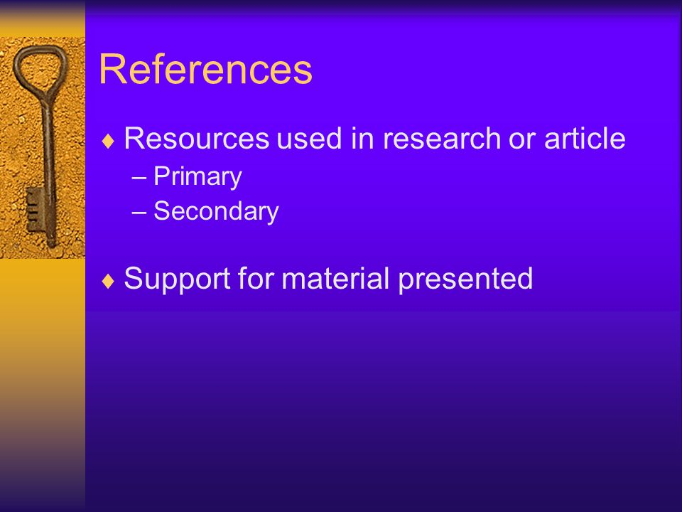 References Resources used in research or article