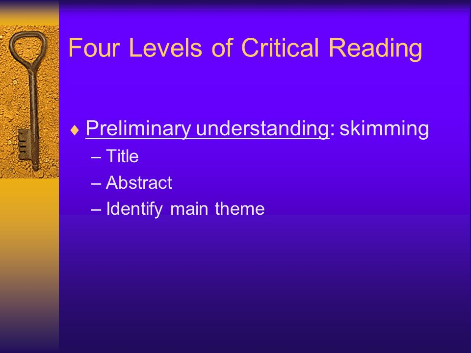 Four Levels of Critical Reading