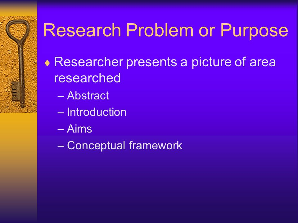 Research Problem or Purpose