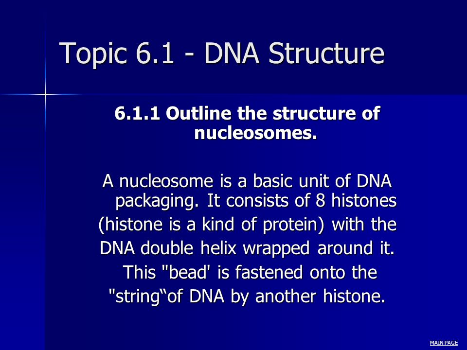 Topic 6.1 - DNA Structure 6.1.1 Outline the structure of nucleosomes.