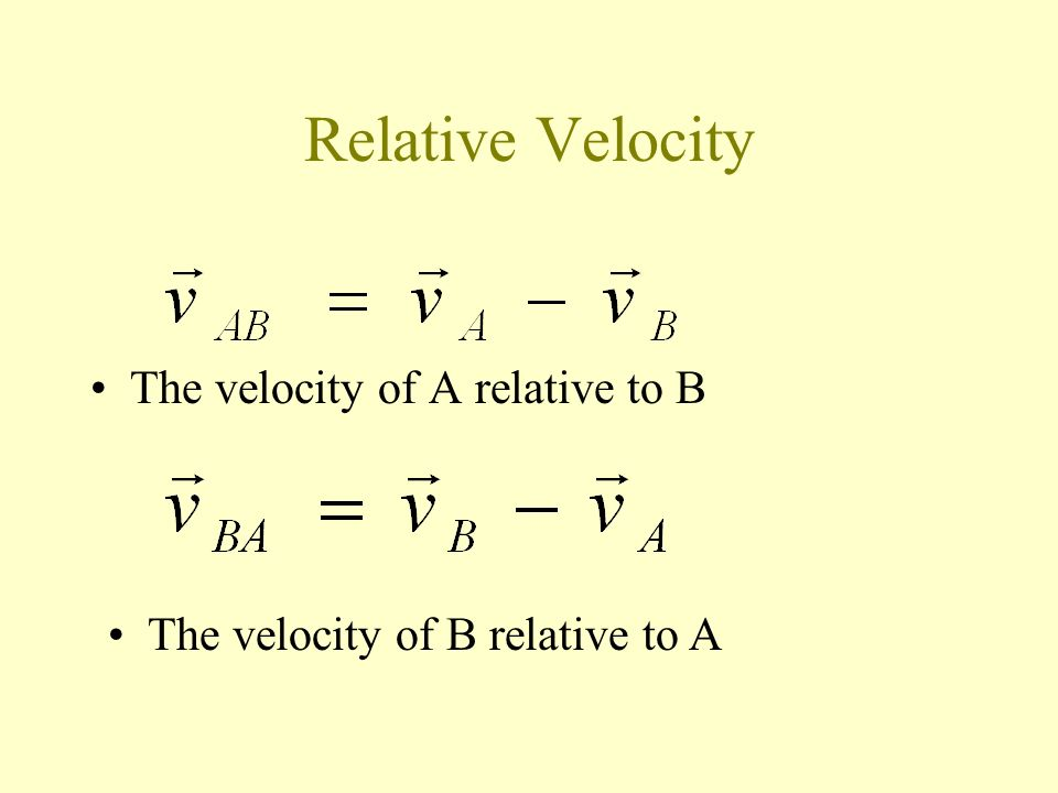 Relative Velocity The velocity of A relative to B