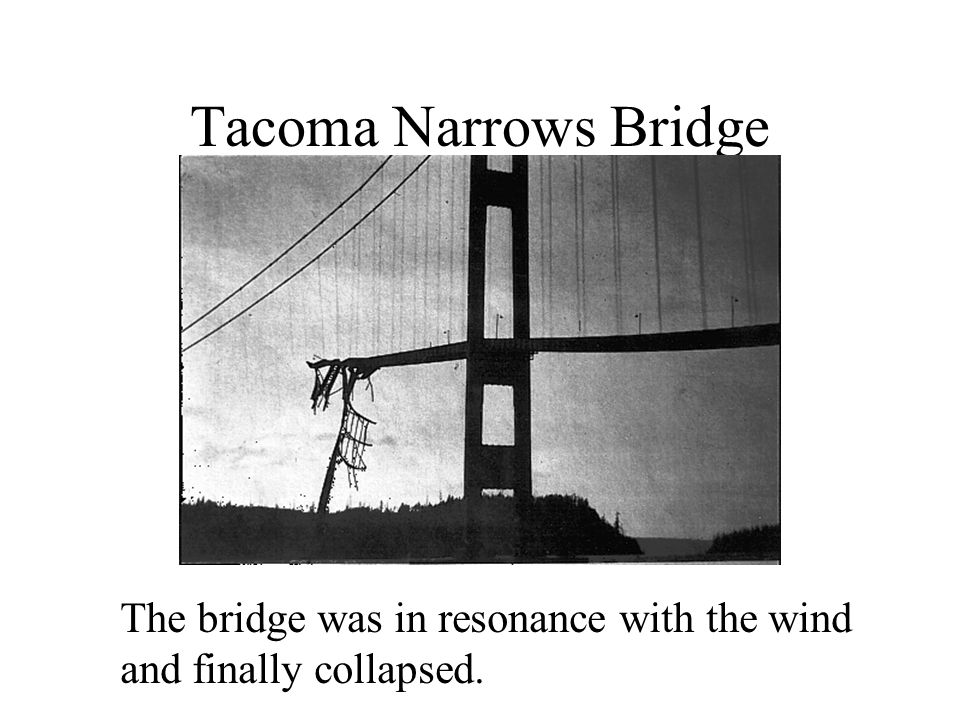 Tacoma Narrows Bridge The bridge was in resonance with the wind