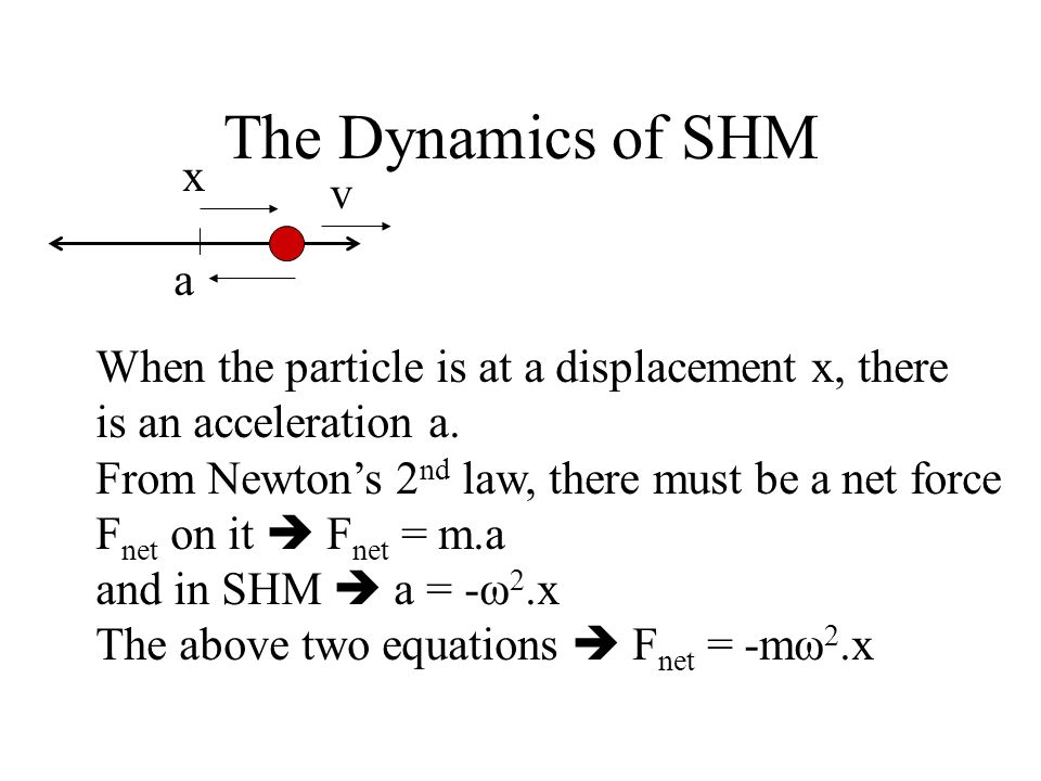 The Dynamics of SHM a. x. v. When the particle is at a displacement x, there. is an acceleration a.