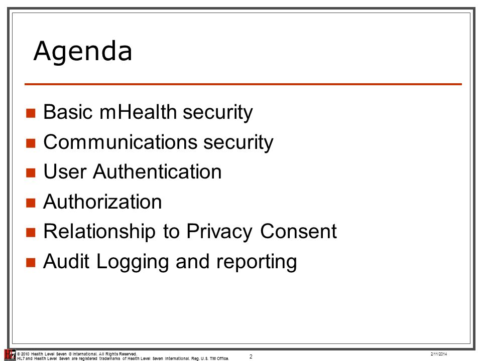 Agenda Basic mHealth security Communications security