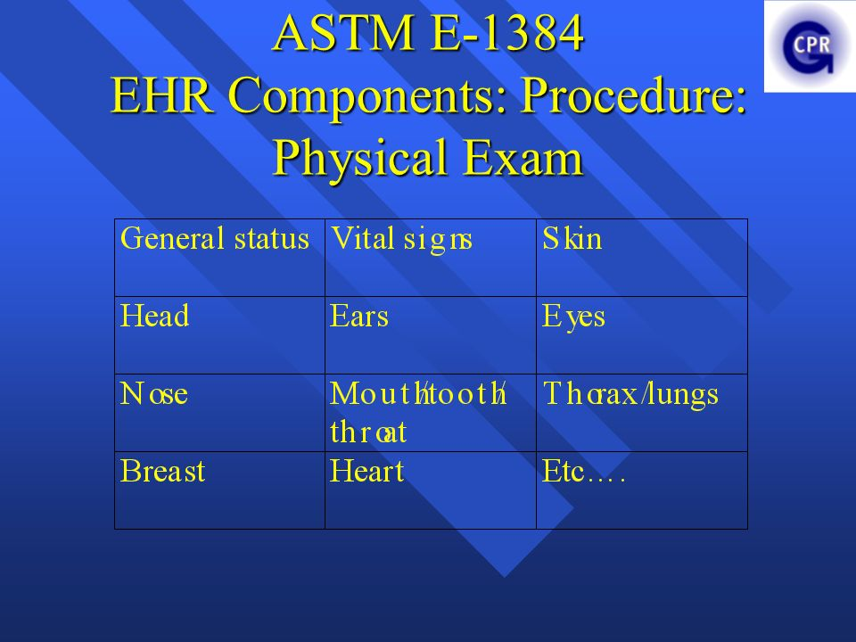 ASTM E-1384 EHR Components: Procedure: Physical Exam