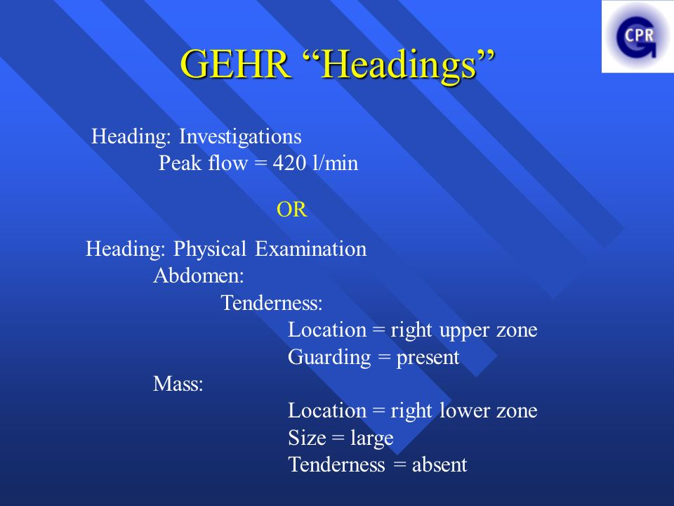 GEHR Headings Heading: Investigations Peak flow = 420 l/min OR