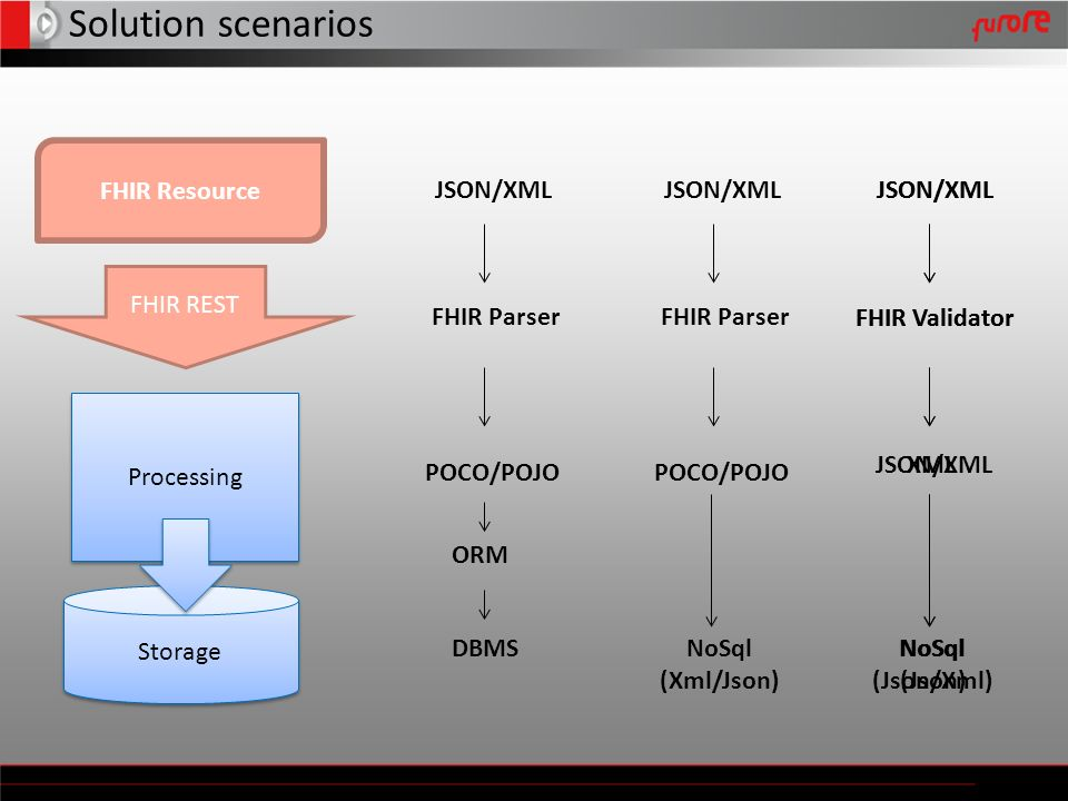 Solution scenarios FHIR Resource JSON/XML POCO/POJO DBMS ORM