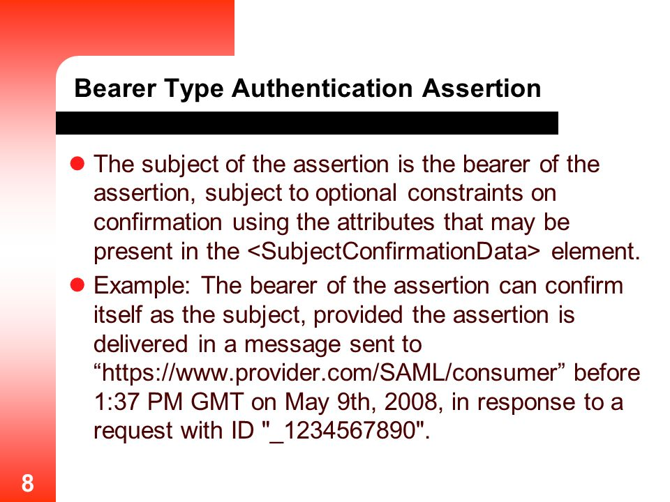 Bearer Type Authentication Assertion
