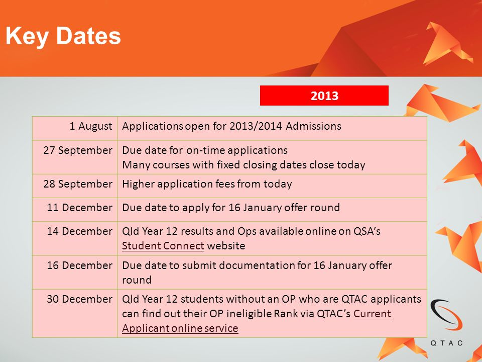 Key Dates August Applications open for 2013/2014 Admissions