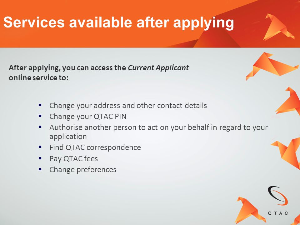 Services available after applying