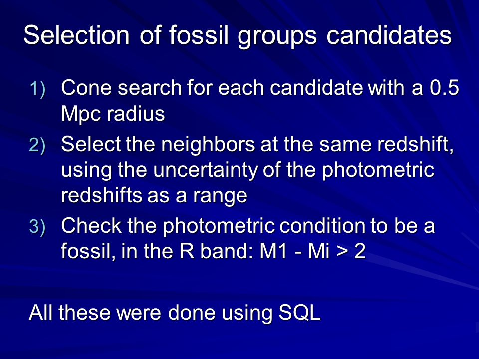 Selection of fossil groups candidates
