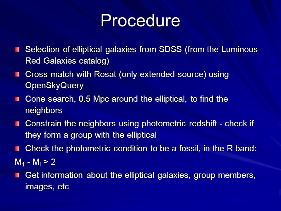 Procedure Selection of elliptical galaxies from SDSS (from the Luminous Red Galaxies catalog)