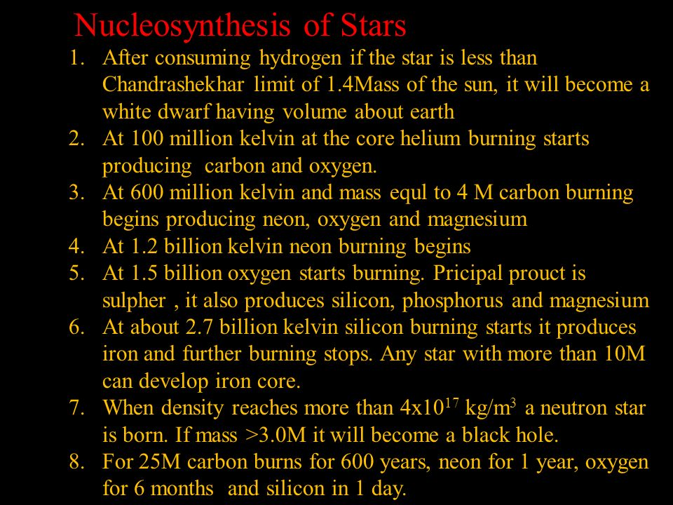 Nucleosynthesis of Stars