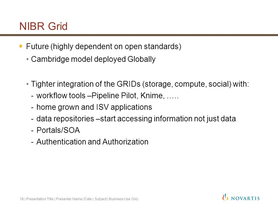 NIBR Grid Future (highly dependent on open standards)