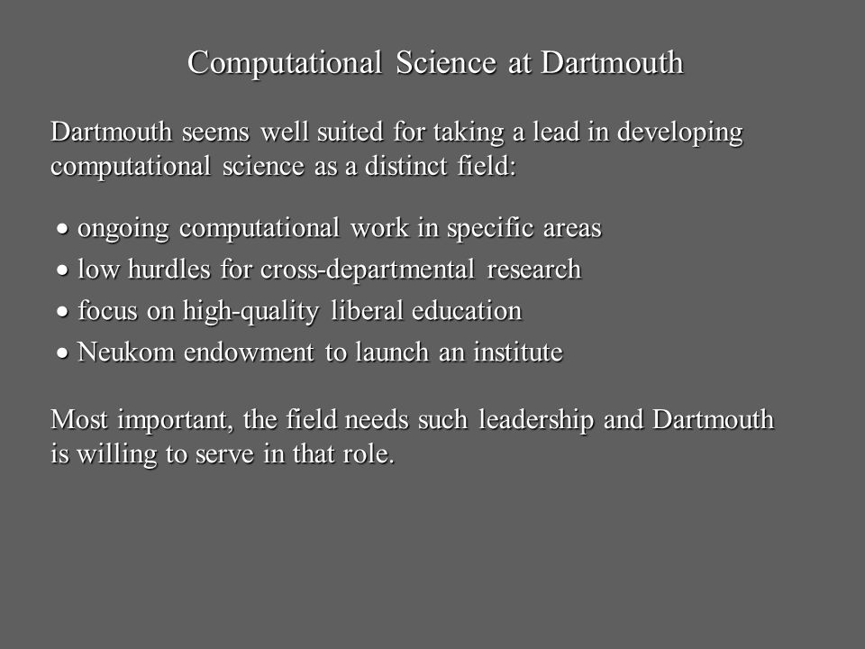 Computational Science at Dartmouth