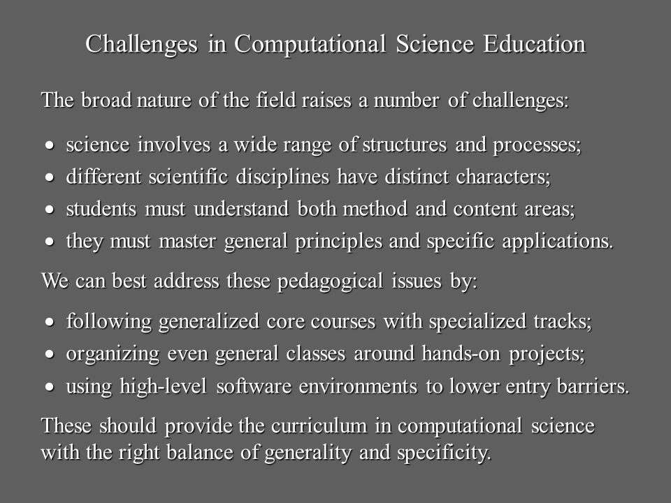 Challenges in Computational Science Education