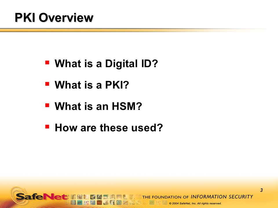 PKI Overview What is a Digital ID What is a PKI What is an HSM