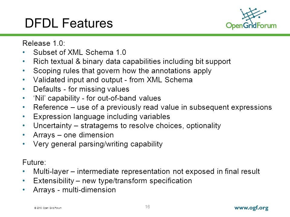 DFDL Features Release 1.0: Subset of XML Schema 1.0