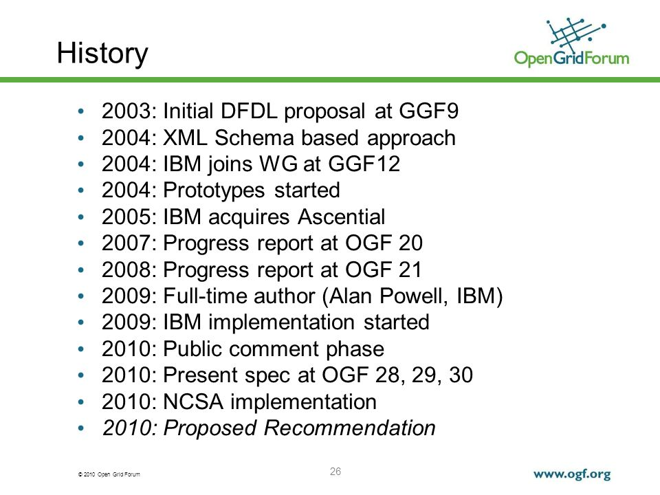 History 2003: Initial DFDL proposal at GGF9