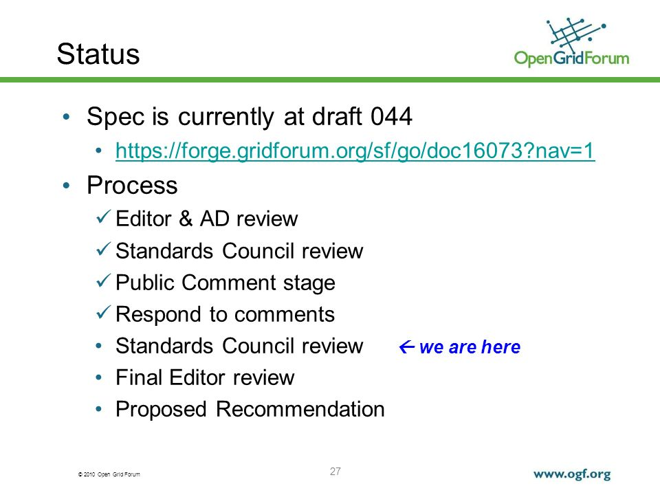 Status Spec is currently at draft 044 Process