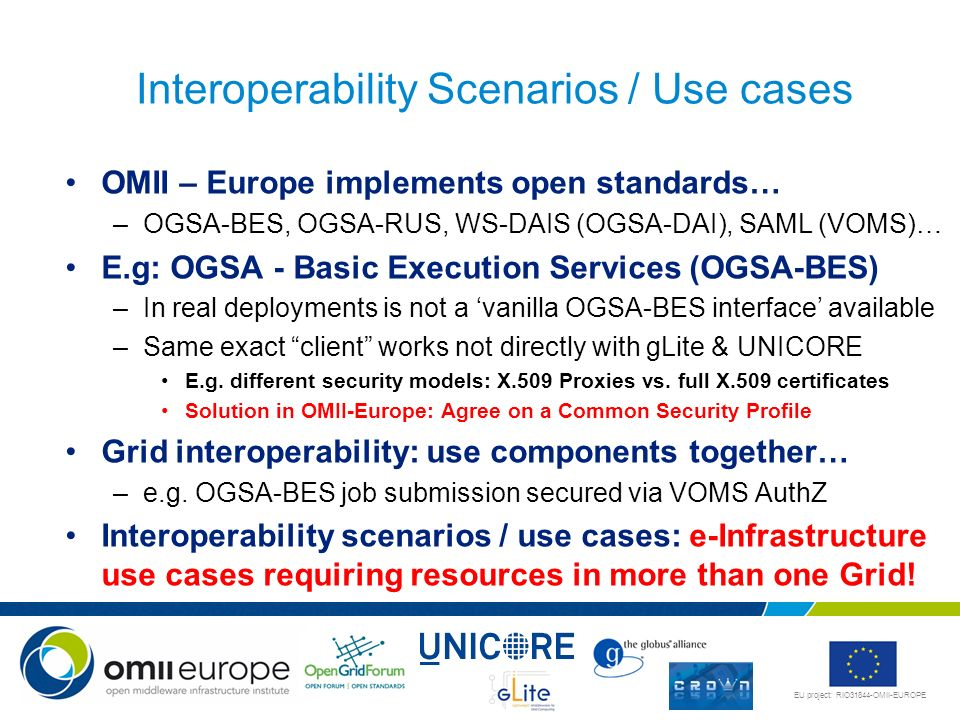 Interoperability Scenarios / Use cases
