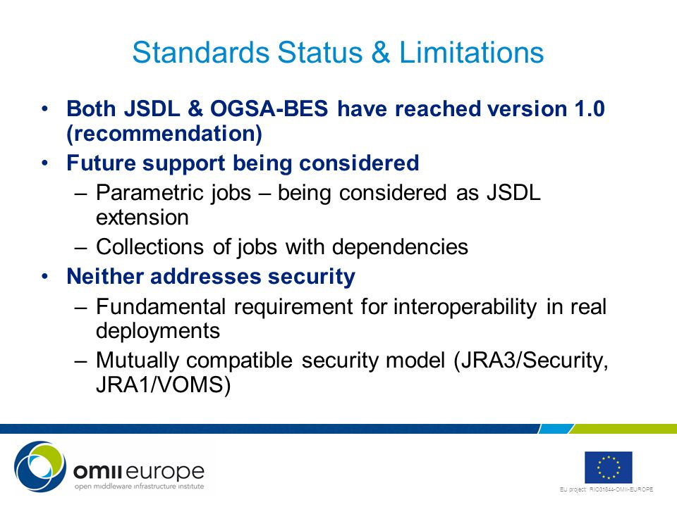 Standards Status & Limitations