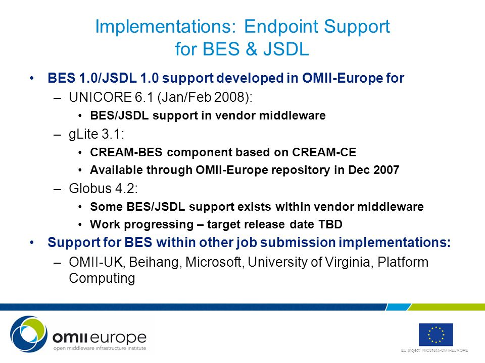 Implementations: Endpoint Support for BES & JSDL