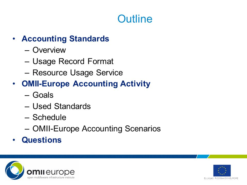 Outline Accounting Standards Overview Usage Record Format